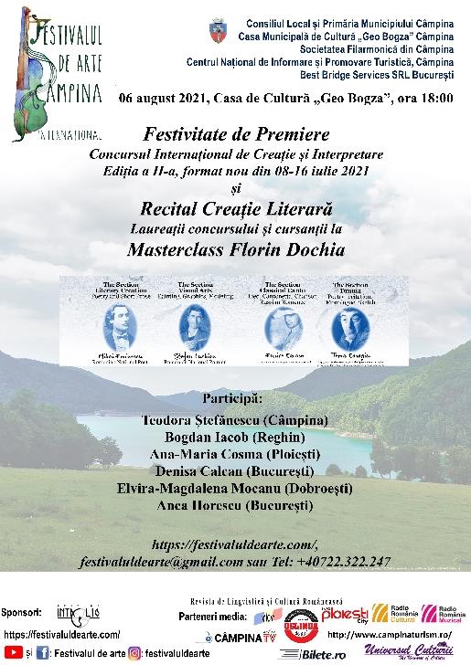 Festivalul de Arte / Festival 4 Arts 2021 .Concert Extraordinar final de Masterclass Pian, 02-08 august2021