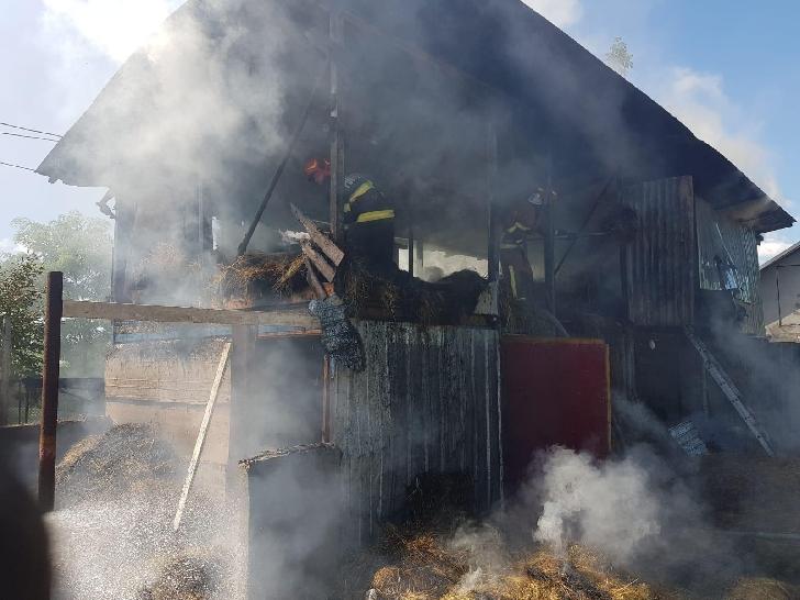 Incendiu la un adăpost de animale şi fân în satul Sipotu