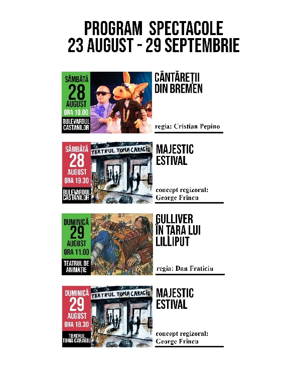 """Spectacolele Teatrului """"Toma Caragiu"""" .23-29 august 2021"""