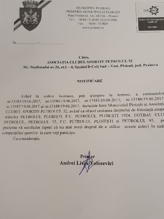Primăria Ploieşti a notificat ASC  Petrolul 52 să nu mai folosească mărcile Petrolul Ploieşti, FC Petrolul Ploieşti 1924, Fotbal Club Petrolul, Petrolul 52, FC Petrolul Ploieşti şi Petrolul 95