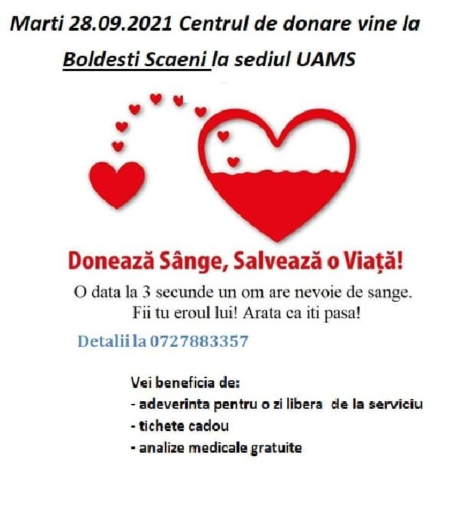 Campanie de donat sânge la Boldeşti Scăieni