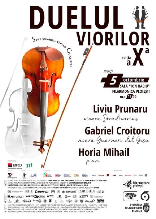 """La Filarmonica """"Paul Constantinescu"""" Ploiesti va avea loc Duelul viorilor – Ediţia a X-a"""