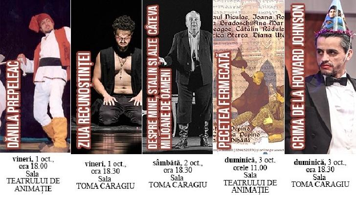 """Spectacolele Teatrului """"Toma Caragiu"""" Ploiesti in perioada 27 septembrie - 3 octombrie 2021"""