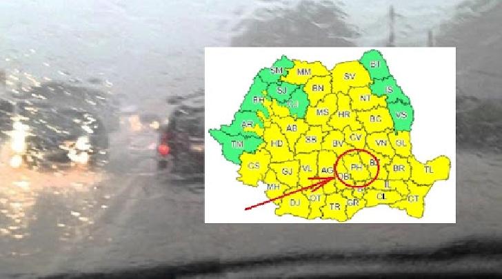 Judeţul Prahova se află sub cod galben de instabilitate atmosferică accentuată